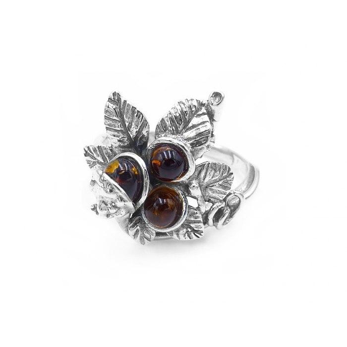 Duży srebrny pierścionek kasztany bursztyn