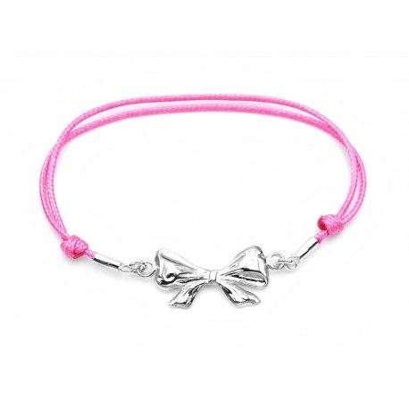 Różowa sznurkowa bransoletka srebrna 925 kokardka