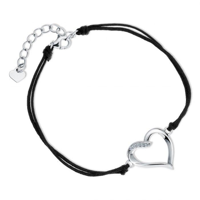 Czarna sznurkowa bransoletka serce 2