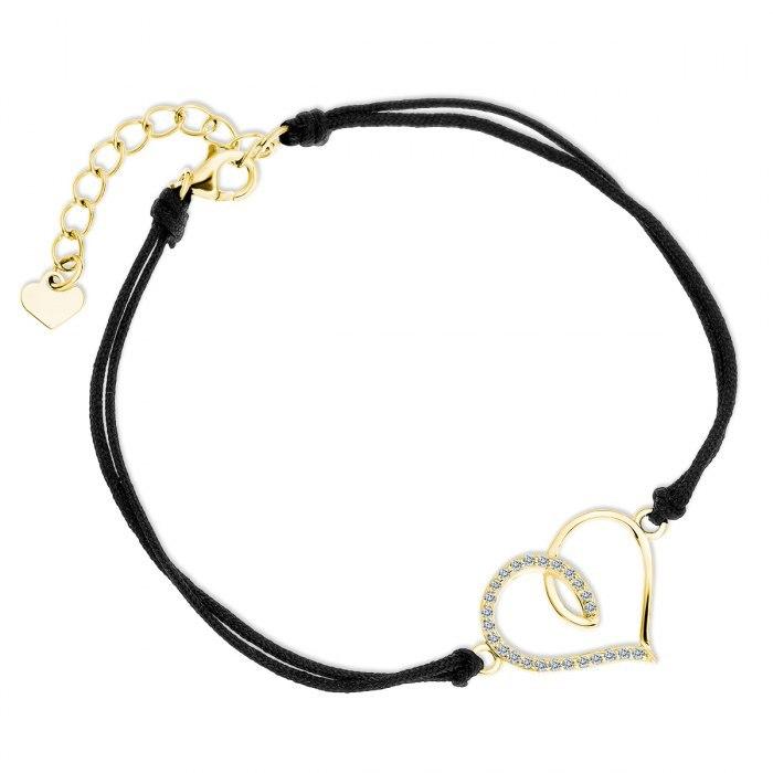 Czarna sznurkowa bransoletka z pozłacanym sercem
