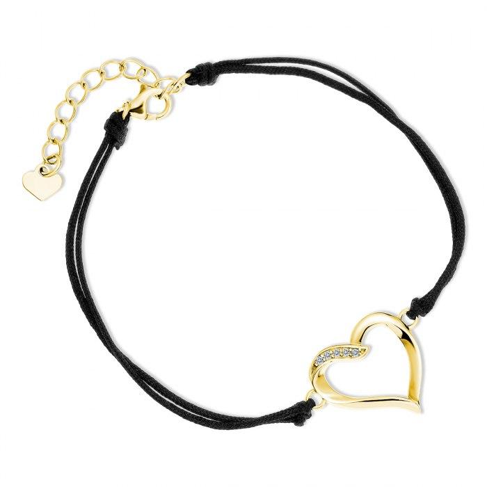 Czarna sznurkowa bransoletka pozłacane serce