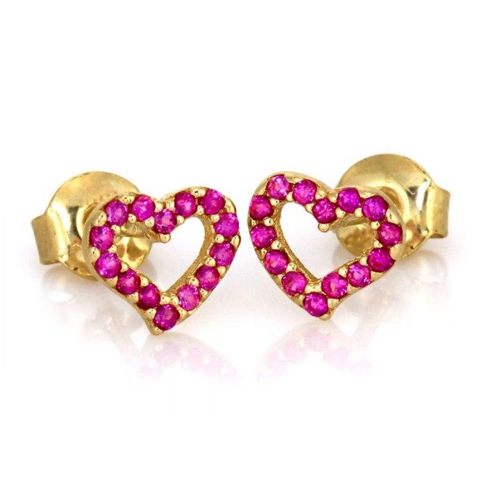 Złote 585 kolczyki rubinowe serduszka