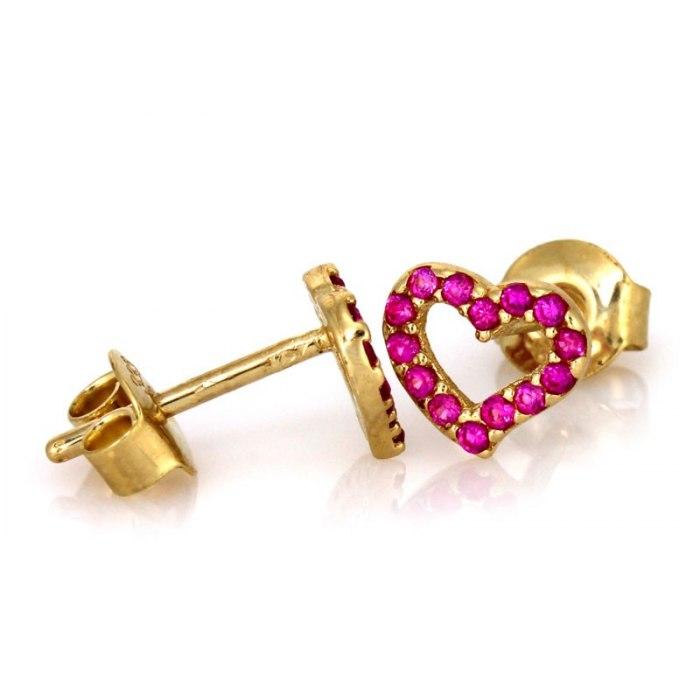 Złote 585 kolczyki rubinowe serduszka serca