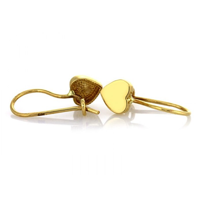 Złote kolczyki 585 pełne serca + pudełko