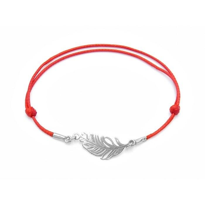 Czerwona sznurkowa bransoletka srebrna 925 pióro