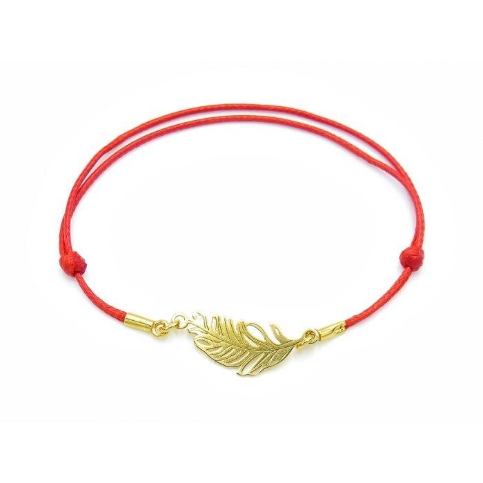 Czerwona sznurkowa bransoletka pozłacane pióro