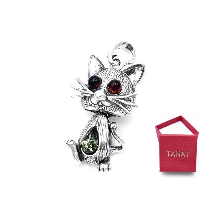 Trójwymiarowy kotek z bursztynem